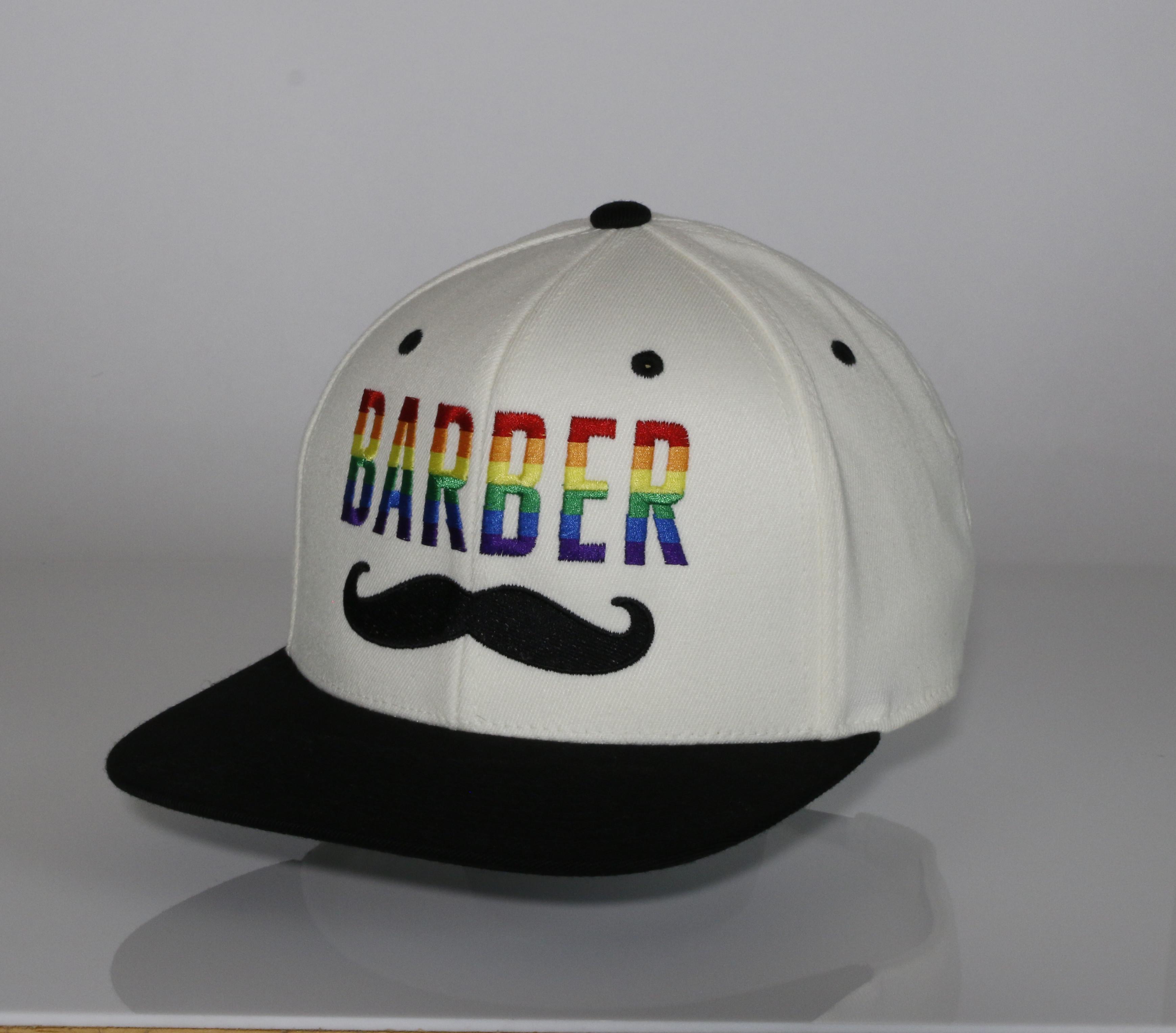 Rainbow barber mustache flexfit hat black jpg 3477x3055 Barber headgear 3ece33256961